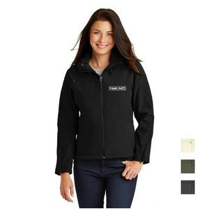 Port Authority� Ladies Textured Hooded Soft Shell Jacket